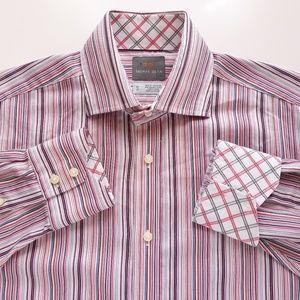 Thomas Dean Mens Striped Vibrant Colors Sz M Shirt